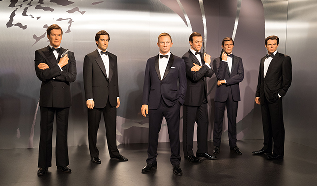 Immortalised in wax at Madame Tussauds™, all the Bond actors Pic: Shutterstock