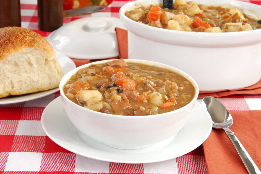 A bowl of homemade soup;