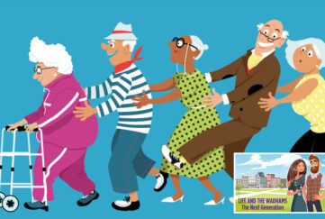 Illustration of elderly people doing the conga, lady at the front has a zimmer frame