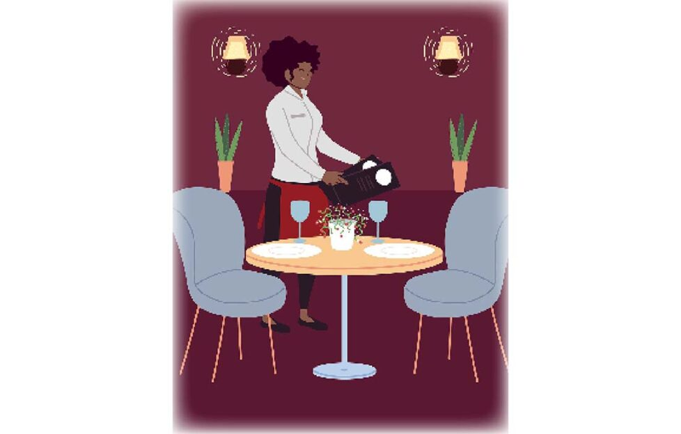 Lady serving at a table Illustration: Shutterstock