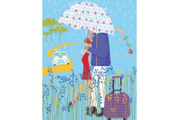 Couple under an umbrella Pic: Shutterstock