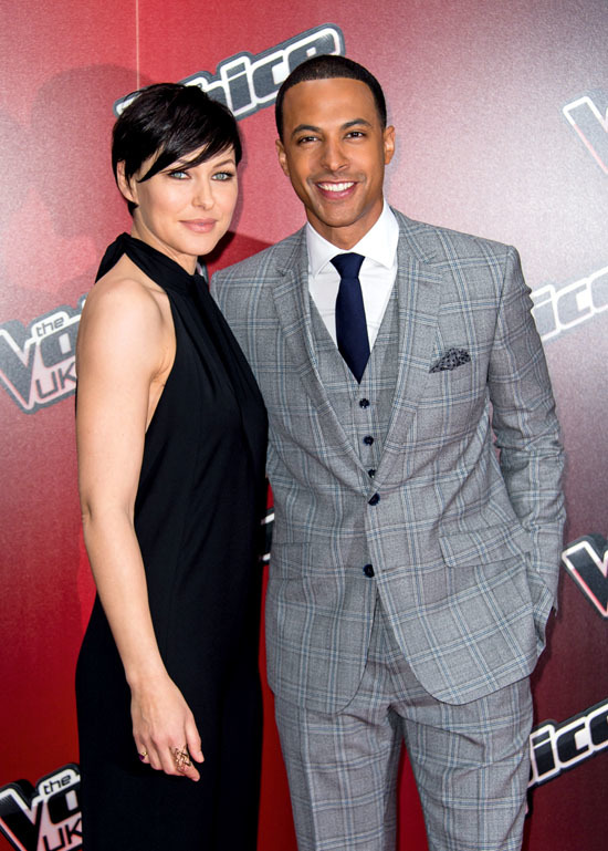 "LONDON, ENGLAND - JANUARY 05 Emma Willis and Marvin Humes attend the launch of ""The Voice UK"" Series 4 at The Mondrian Hotel on January 5, 2015 in London, England. (Photo by Ian Gavan/Getty Images)"
