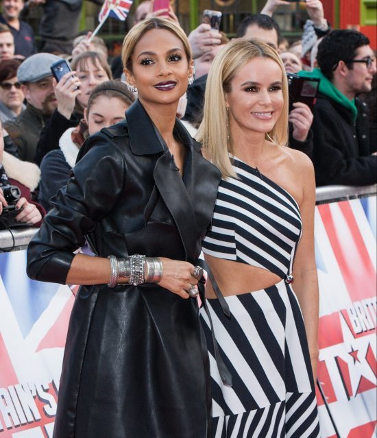 BIRMINGHAM, ENGLAND - FEBRUARY 04: Amanda Holden (R) and Alesha Dixon arrive for the Birmingham audtions for Britain's Got Talent at Birmingham Hippodrome on February 4, 2016 in Birmingham, England. (Photo by Richard Stonehouse/Getty Images)