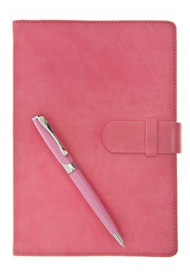 Pink Leather Diary Notebook and Pen Isolated on White