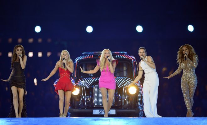 Spice Girls perform during the closing ceremony of the 2012 London Olympic Games at the Olympic stadium in London on August 12, 2012. Rio de Janeiro will host the 2016 Olympic Games. AFP PHOTO/LEON NEAL (Photo credit should read LEON NEAL/AFP/GettyImages)