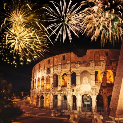 Coliseum in Rome on night