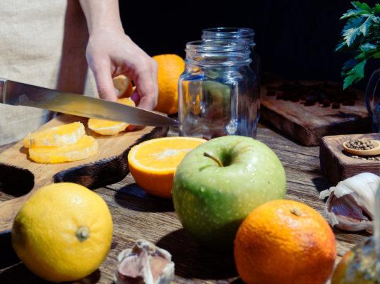 freshly sliced oranges