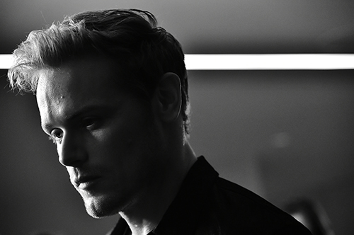 Sam heughan black and white