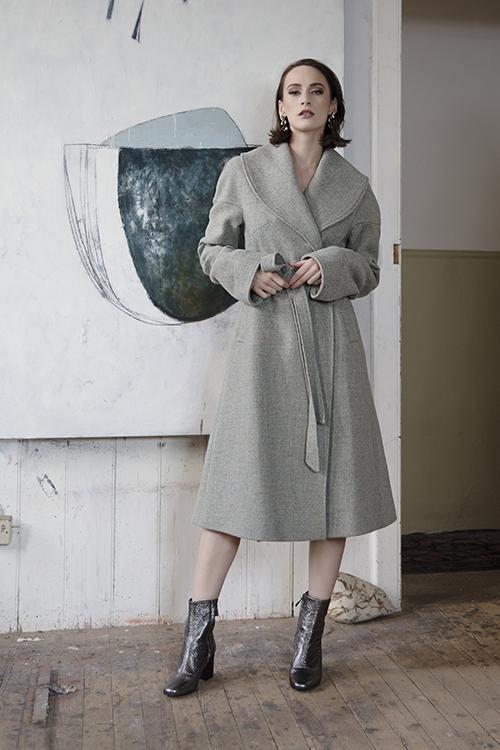 Belted wool coat Elizabeth Martin Tweed