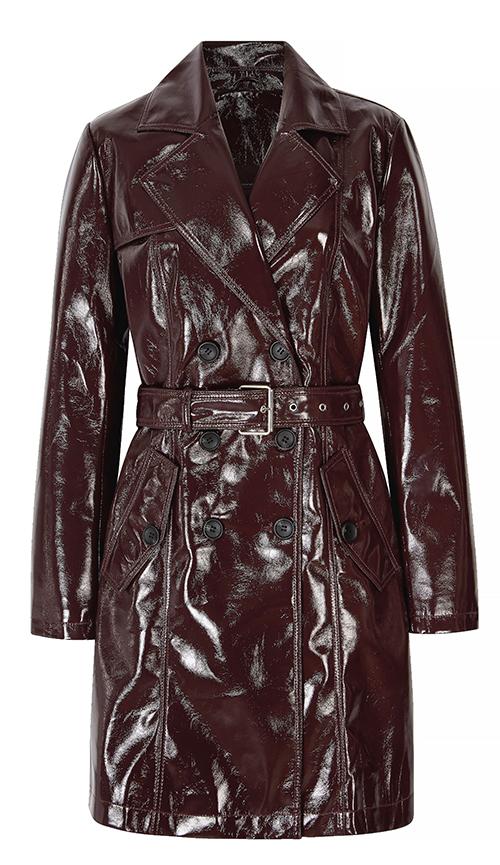Berry purple maroon vinyl trench coat Next