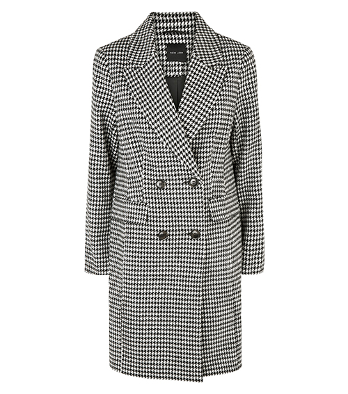 Black Houndstooth double breasted coat New Look