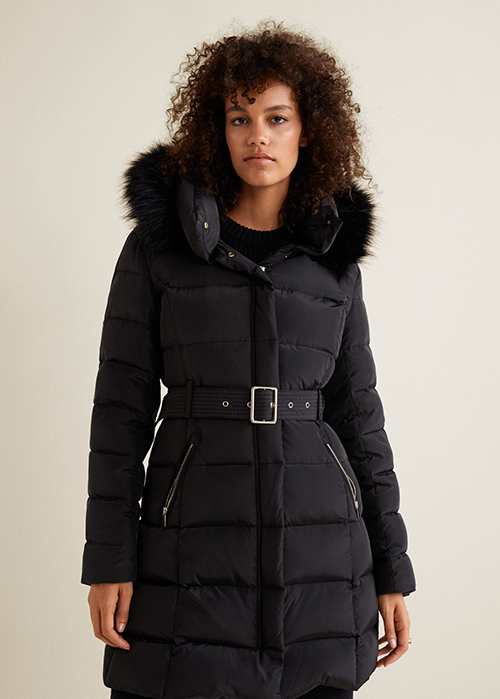 Black feather quilted jacket padded puffer Mango