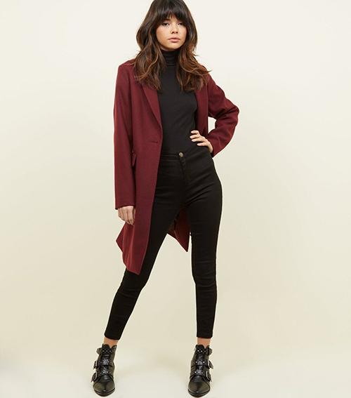 Burgundy single breasted coat New Look
