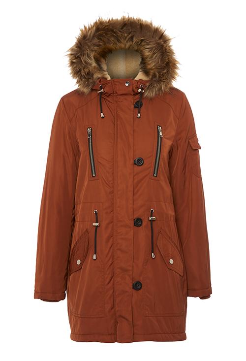 Burnt orange tan parka jacket George at Asda