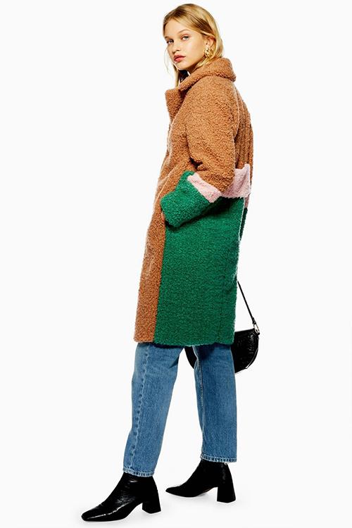 Colour block teddy coat borg furry Topshop