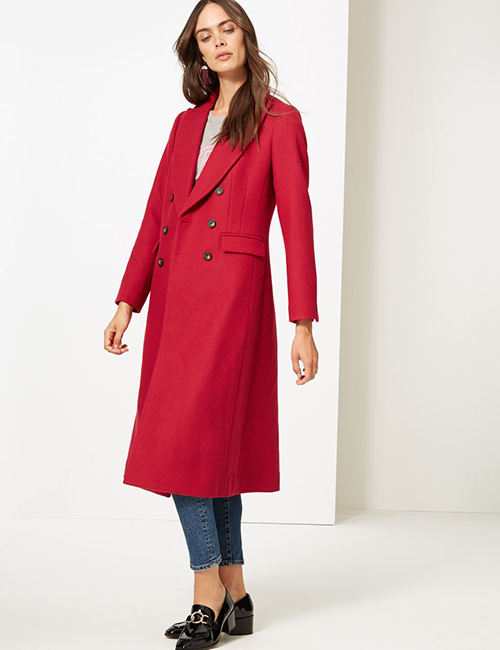 Cranberry red double breasted coat M&S Collection at M&S
