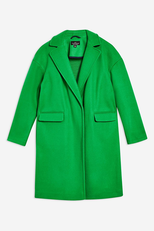 Bright Green relaxed coat Topshop