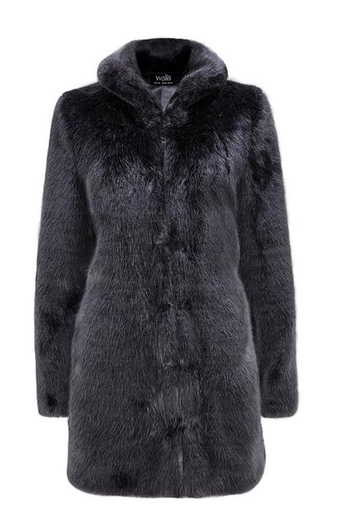 Charcoal grey faux fur coat Wallis