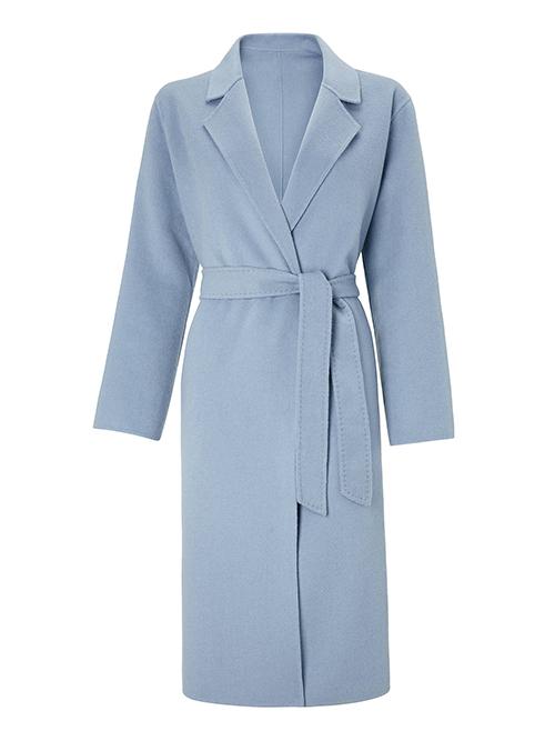 Powder pastel blue belted coat John Lewis