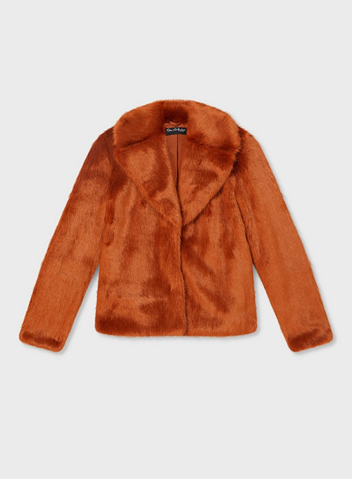 Rust orange faux fur coat Miss Selfridge