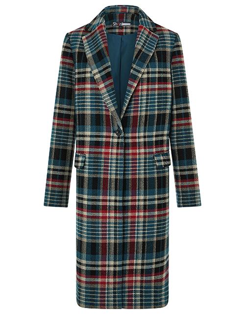 Teal check wool blend coat Monsoon