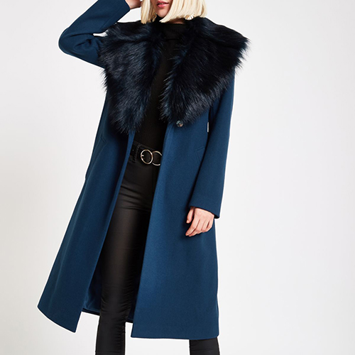Teal longline coat with black faux fur trim River Island
