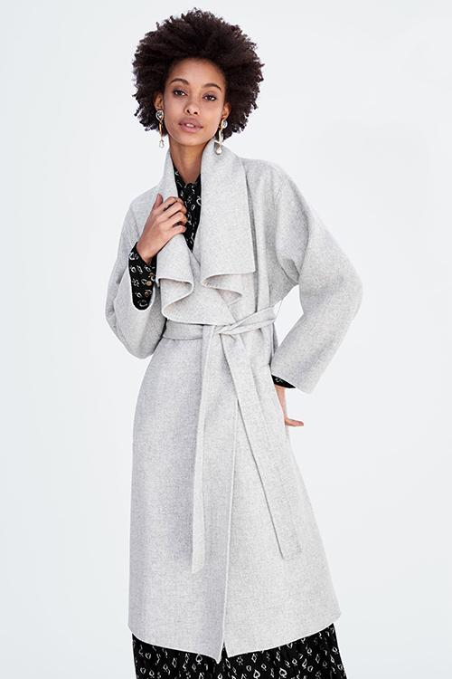 Light grey Wool coat with wraparound collar Zara
