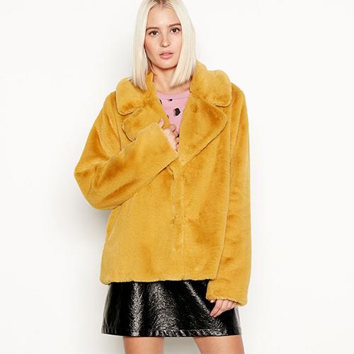 Yellow mustard faux fur jacket Red Herring at Debenhams