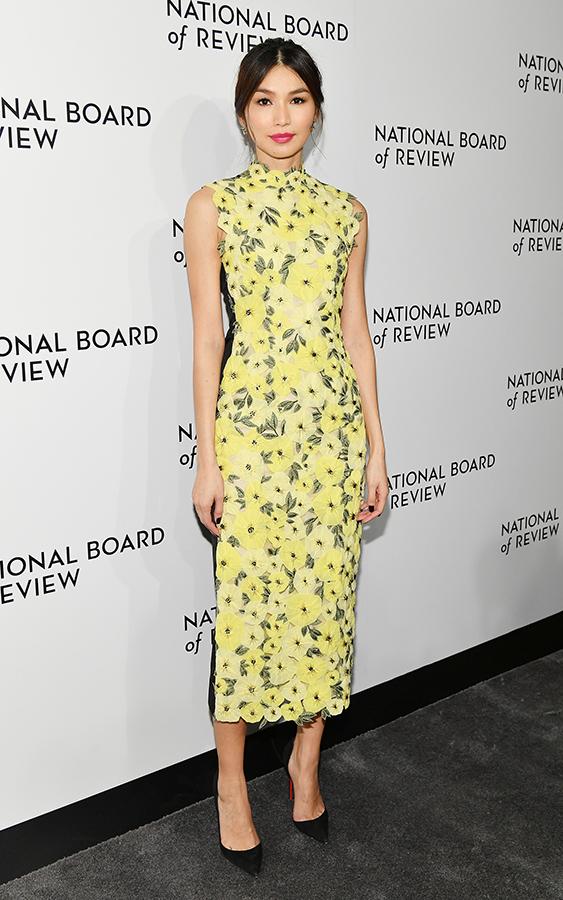 Gemma Chan yellow dress