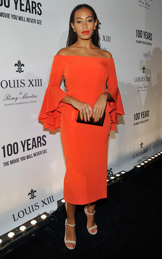 Solange Knowles red dress