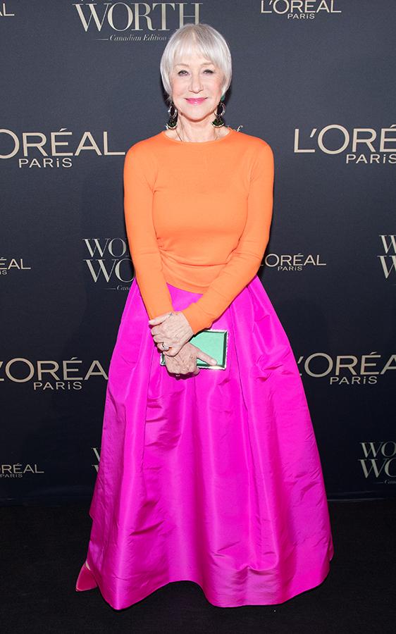 Dame Helen Mirren pink and orange