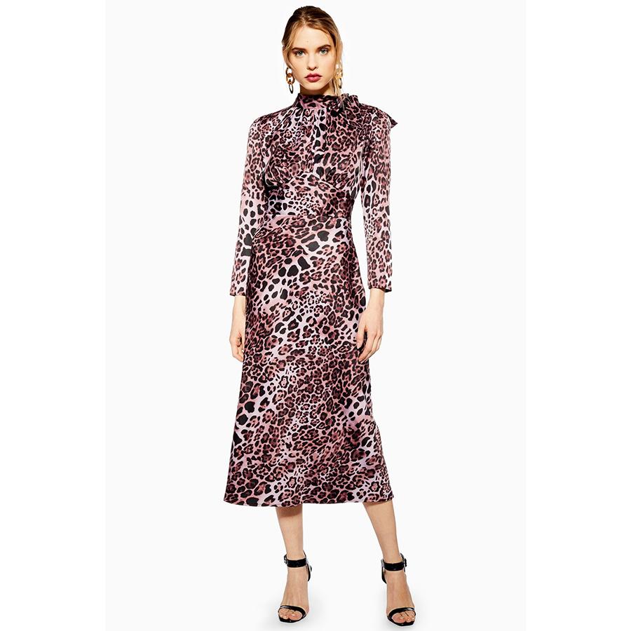 Topshop pink leopard dress
