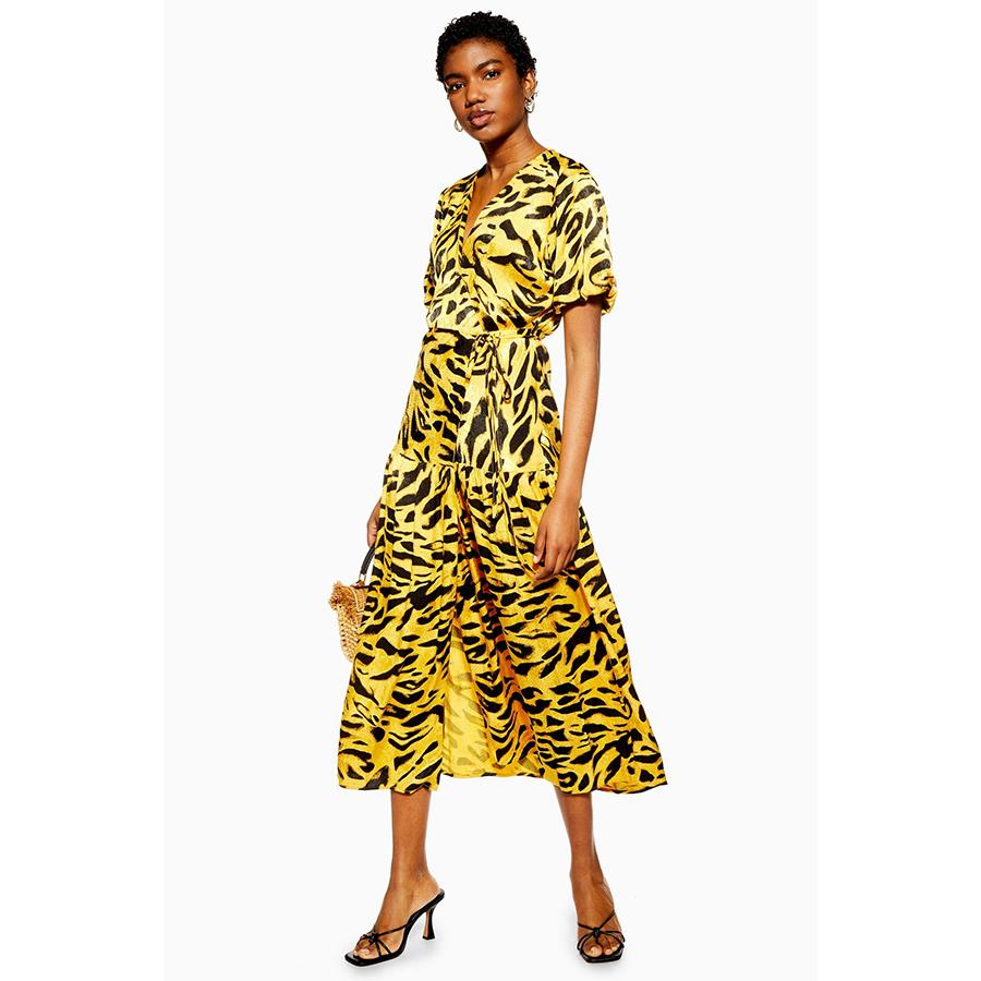 Topshop yellow print dress