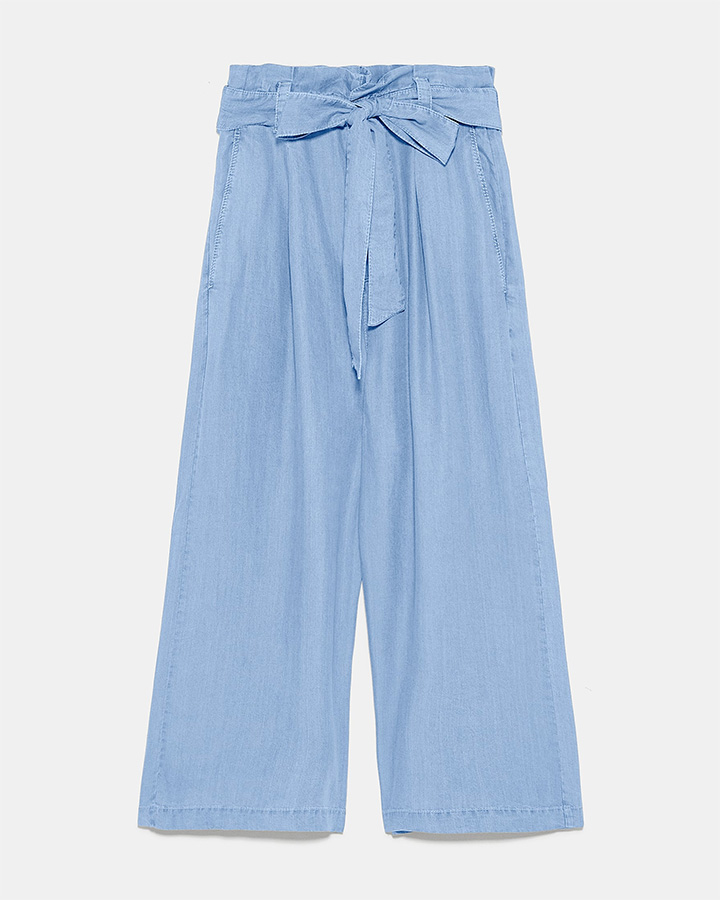 airport style blue zara culottes