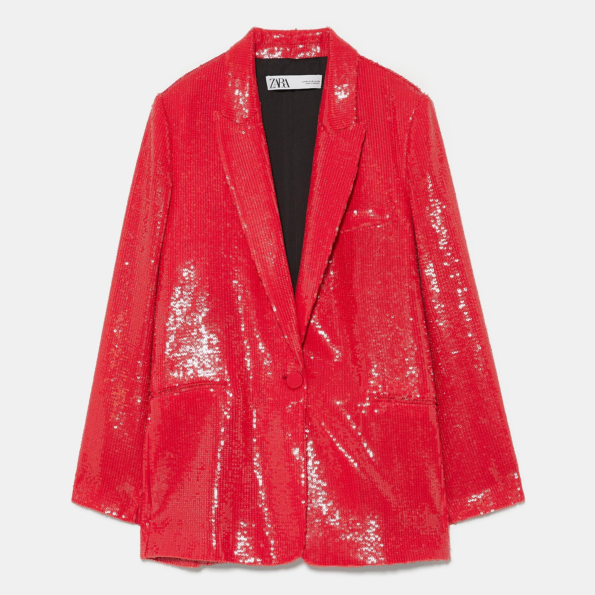 Zara red sequin blazer
