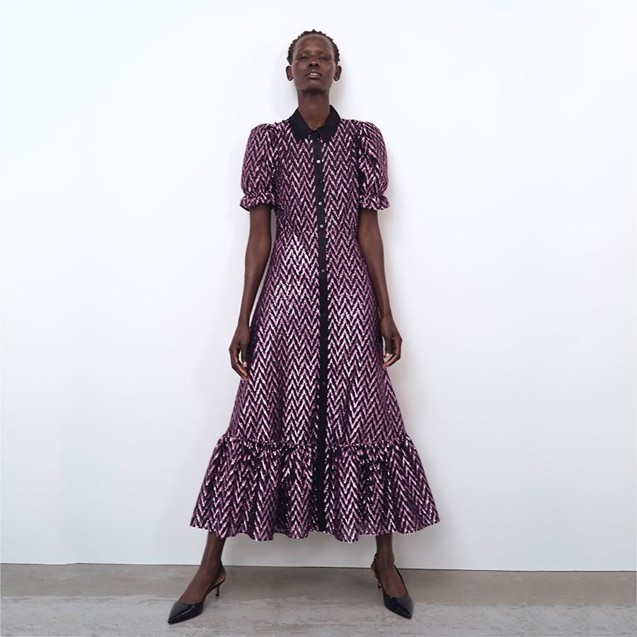 Zara metallic frilled dress