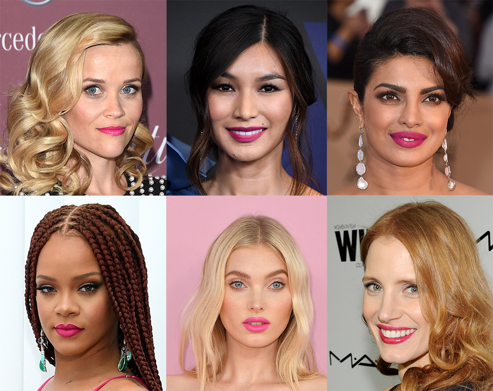 celebrity hot pink lipstick looks