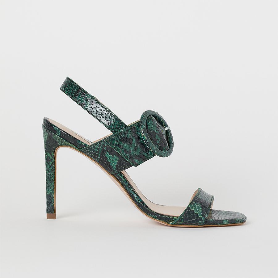 H&M green snakeskin heels