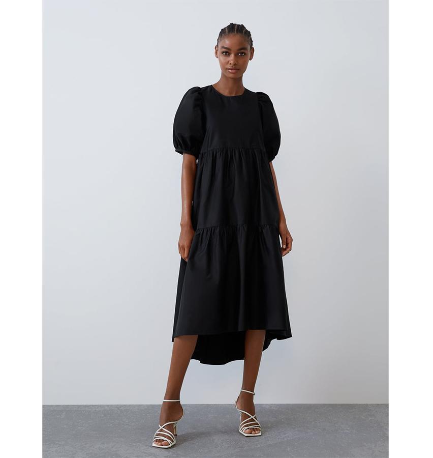 Zara puff sleeve poplin dress