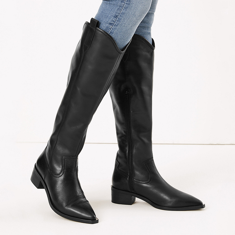 marks and spencer long black western boots