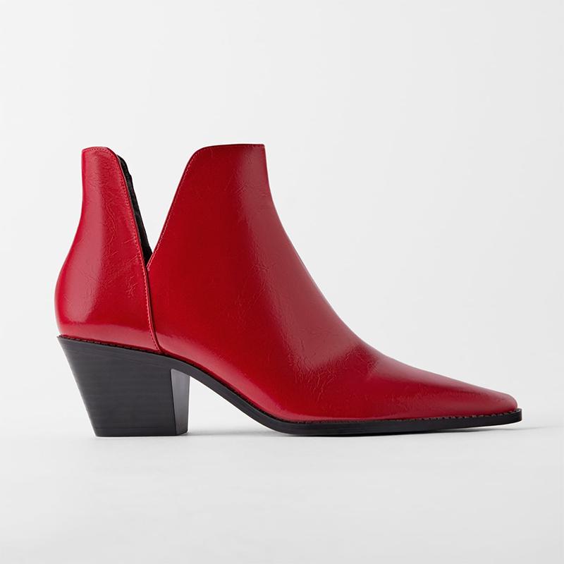 zara red boots
