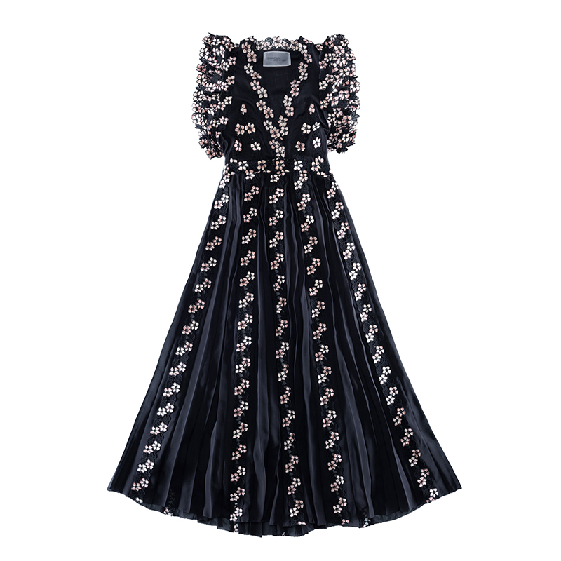 Giambattista Valli X H&M black chiffon and lace dress