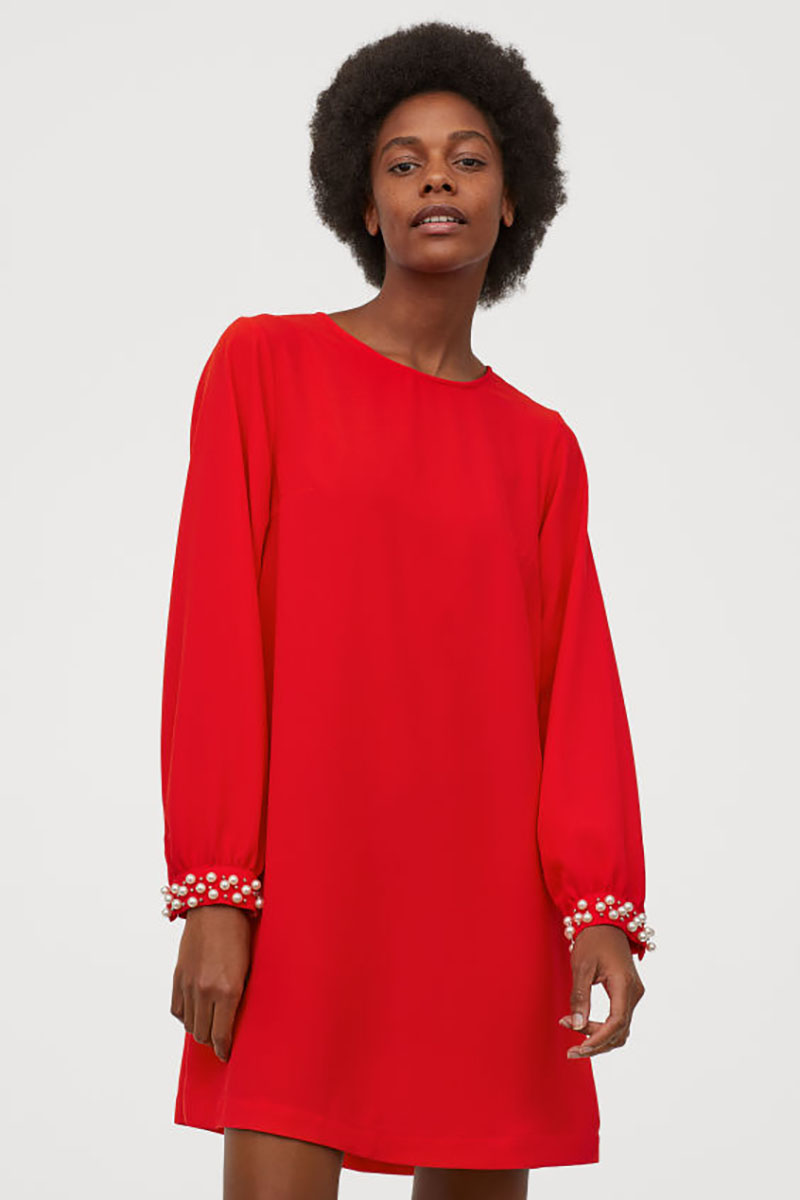 Christmas Party Dresses 2019, red dress, h&m pearl cuff
