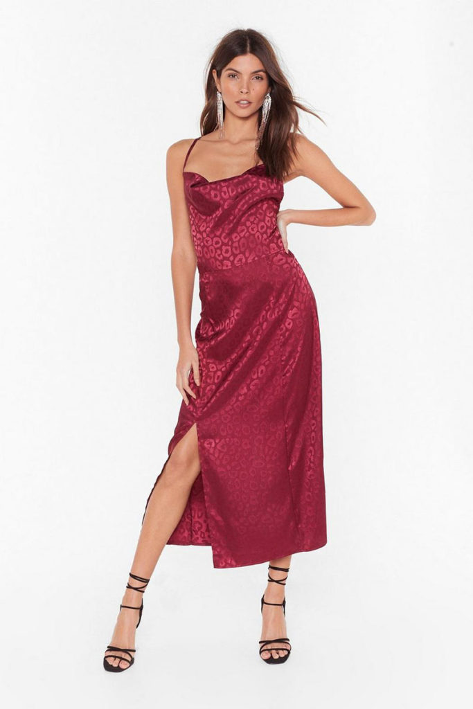 Christmas Party Dresses 2019, red midi dress, satin dress nasty gal