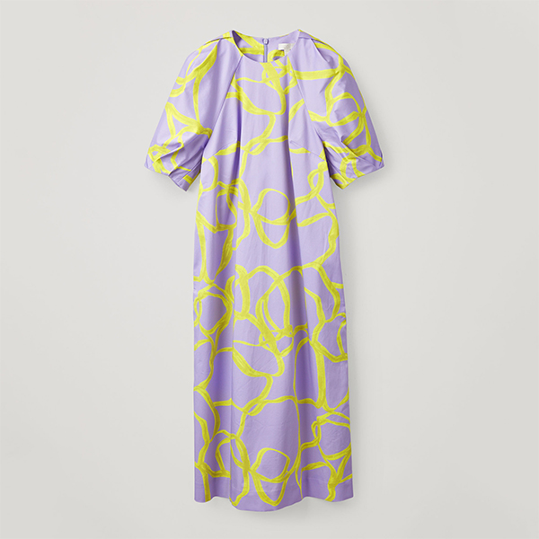 Cos printed puff sleeve dress