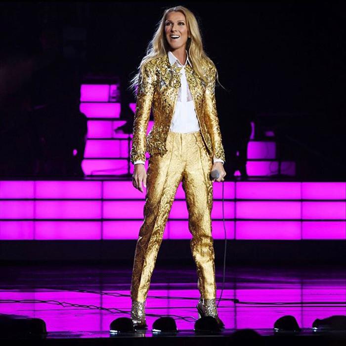 Celine Dion gold suit