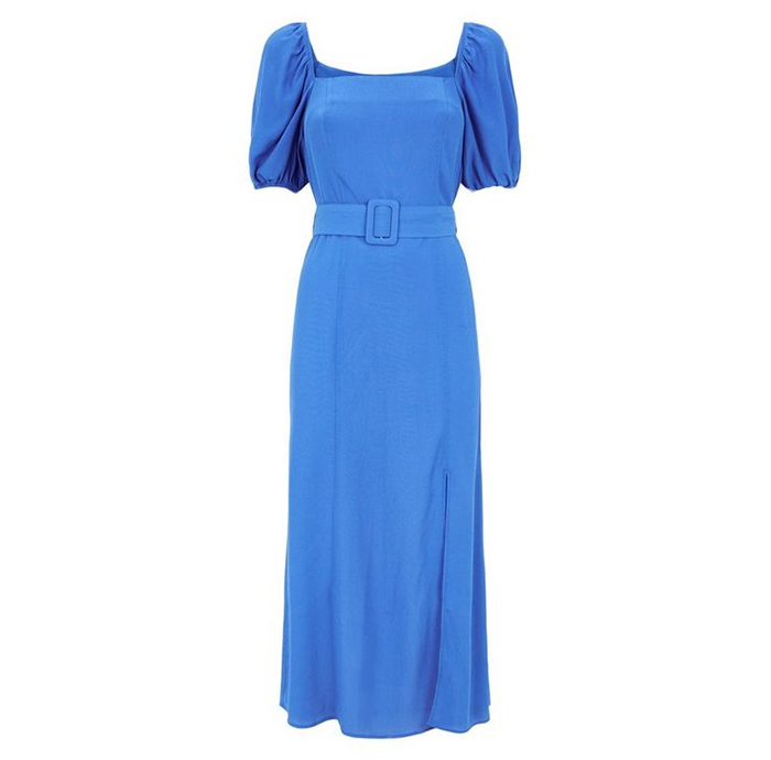 Blue Belted Dress New Look