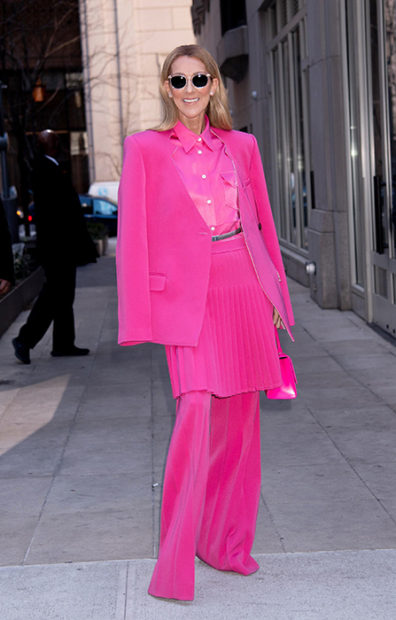 Celine Dion pink suit