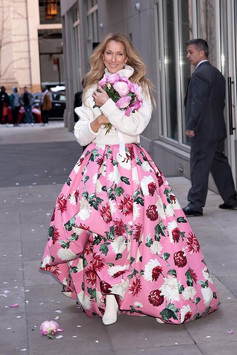 Celine Dion floral print dress