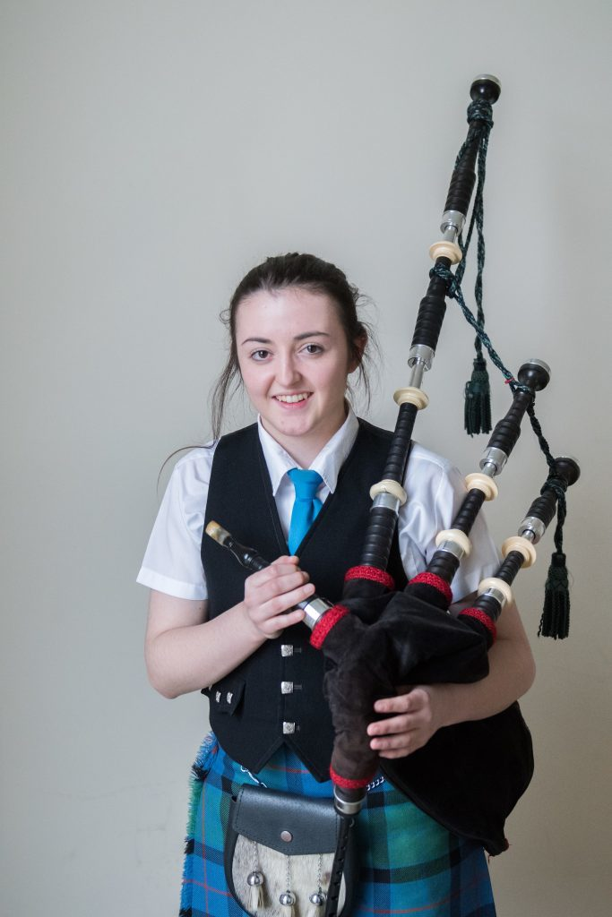 Amber MacDonald 1st in Bagpipe solos 16-18 and 3rd year piobaireachd.